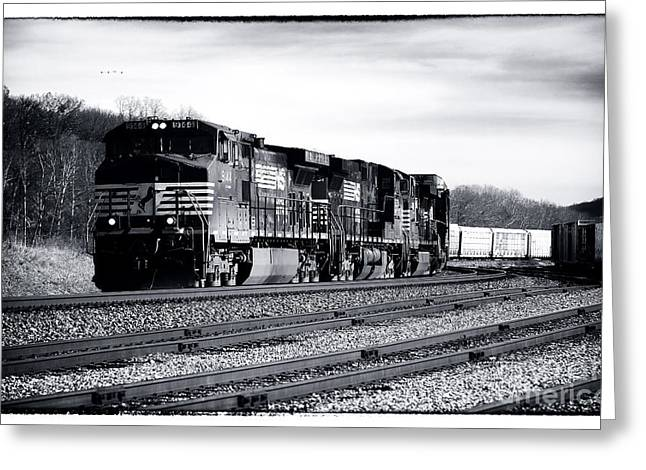 Black And White Train Track Prints Greeting Cards - 9144 Rolling Greeting Card by John Rizzuto