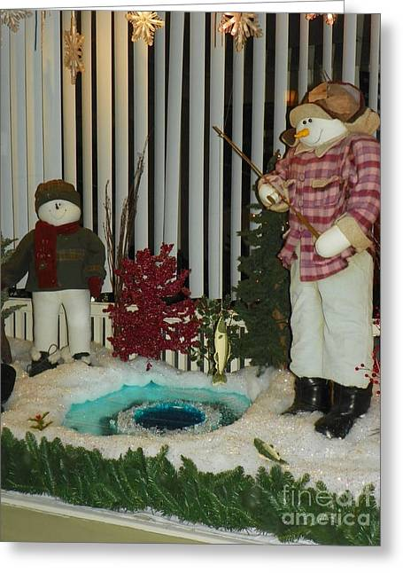 Photos Greeting Cards - #916 D684 Ice Fishing Snowmen Greeting Card by Robin Lee Mccarthy Photography