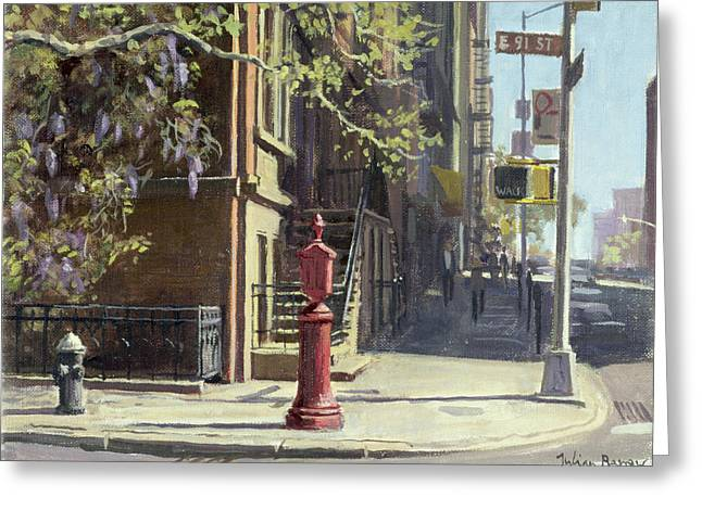 Hydrant Greeting Cards - 91st Street At Lexington Avenue Oil On Canvas Greeting Card by Julian Barrow