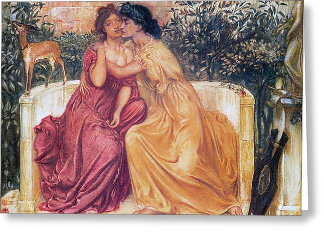 Simeon Greeting Cards - Sappho and Erinna in a Garden Greeting Card by Simeon Solomon