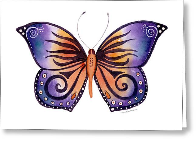 Abstract Butterfly Greeting Cards - 93 Orange Purple Capanea Butterfly Greeting Card by Amy Kirkpatrick