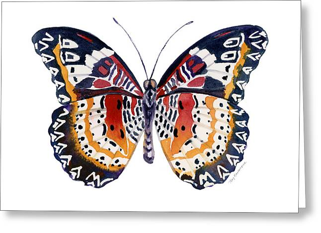 Background Paintings Greeting Cards - 94 Lacewing Butterfly Greeting Card by Amy Kirkpatrick