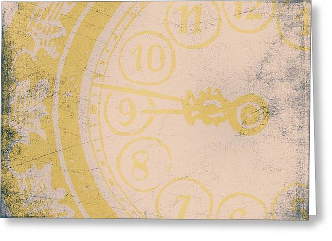 Industrial Mixed Media Greeting Cards - 945 Grunge Clock Greeting Card by Brandi Fitzgerald