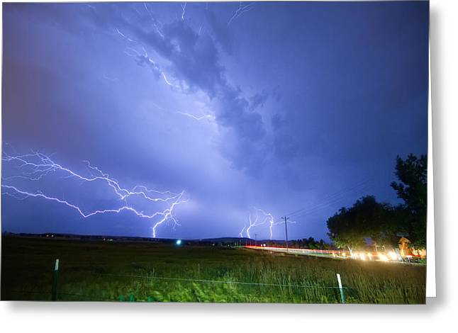 95th and Woodland Lightning Thunderstorm View Greeting Card by James BO  Insogna