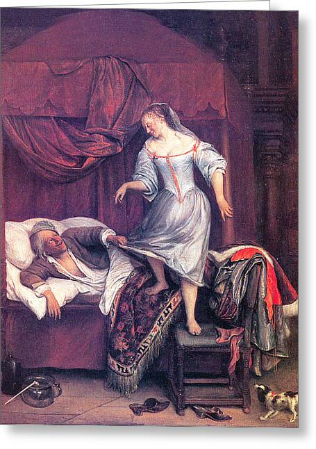 Steen Greeting Cards - The Seduction Greeting Card by Jan Steen