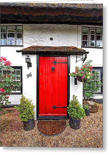 Entryway Greeting Cards - 96 Red - Cottage Door Greeting Card by Gill Billington