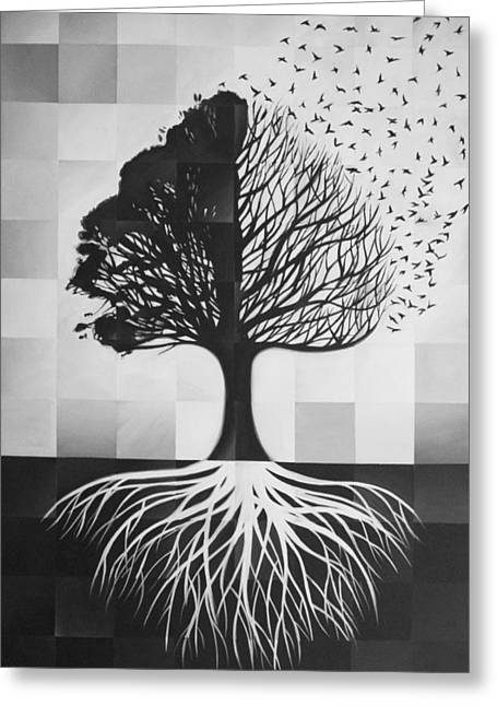 Tree Roots Drawings Greeting Cards - 96  Greeting Card by Steve Hunter
