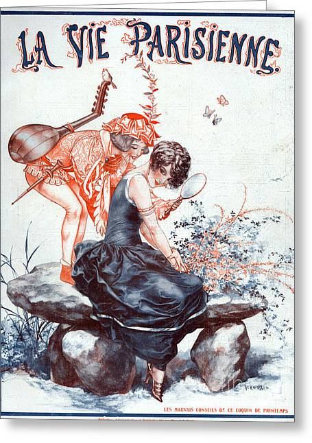 Lute Drawings Greeting Cards - 1920s France La Vie Parisienne Magazine Greeting Card by The Advertising Archives