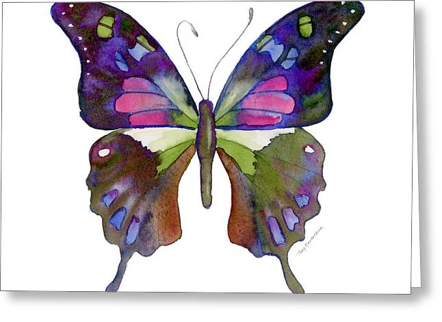 Background Paintings Greeting Cards - 98 Graphium Weiskei Butterfly Greeting Card by Amy Kirkpatrick