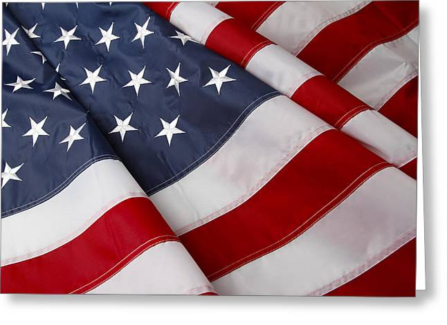Usa Flag Greeting Cards - American flag Greeting Card by Les Cunliffe