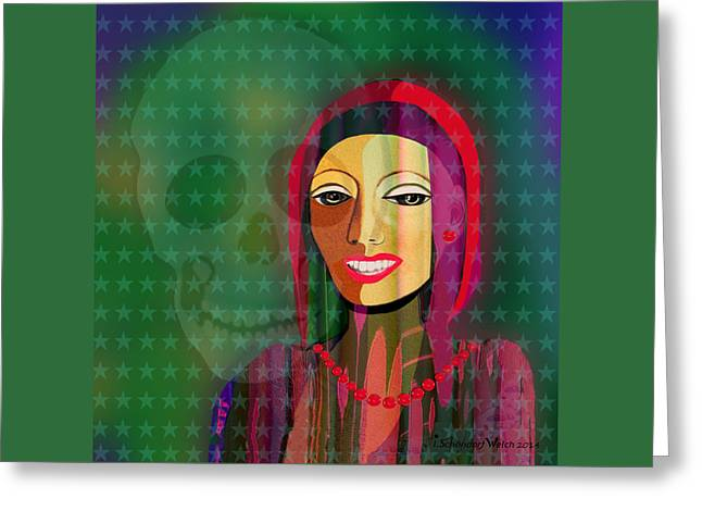 Nice Teeth Greeting Cards - 994 -  The   lady with beautiful teeth Greeting Card by Irmgard Schoendorf Welch