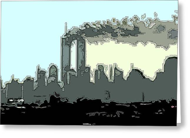 Wtc 11 Mixed Media Greeting Cards - 9AM Outlined Greeting Card by James Kosior