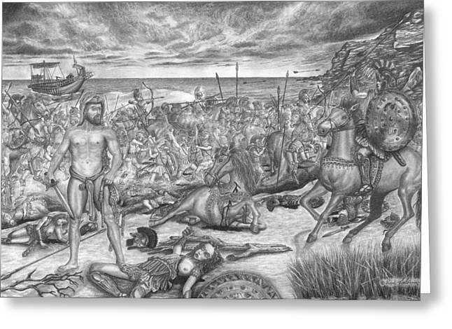 Belt Drawings Greeting Cards - 9th-Labor-of-Hercules-The-Belt-of-Hippolyte Greeting Card by Pierre Salsiccia