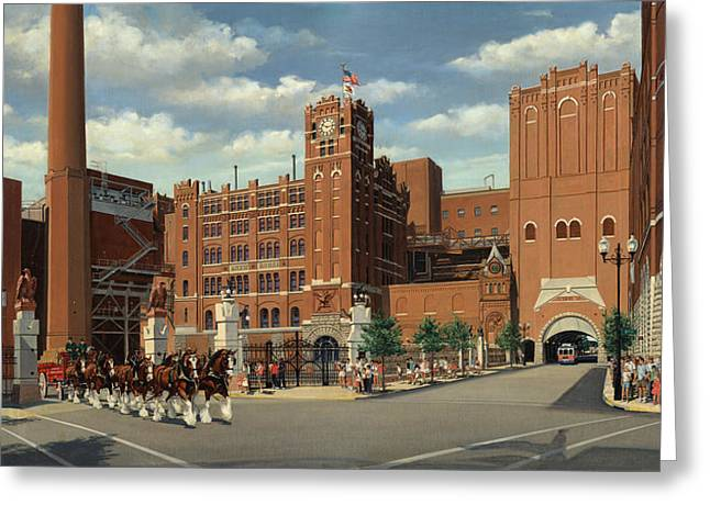 Clydesdale Greeting Cards - 9th and Pestalozzi Brewery Greeting Card by Don  Langeneckert