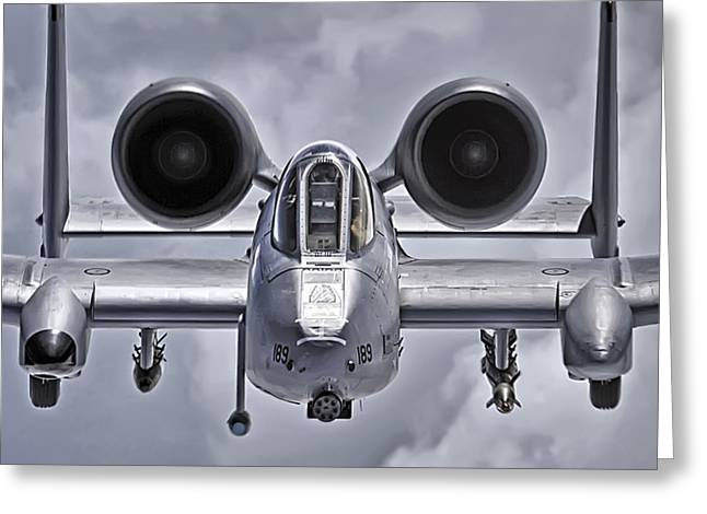 Gunmetal Greeting Cards - A-10 Thunderbolt II Greeting Card by Adam Romanowicz