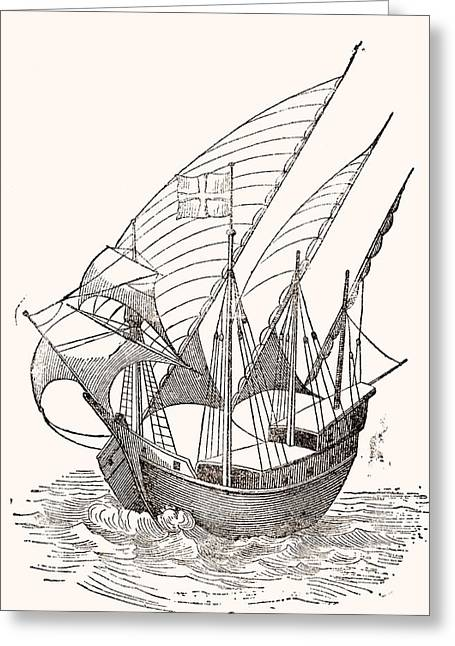 15th Greeting Cards - A 15th Century Caravel.  From El Museo Popular Published Madrid, 1889 Greeting Card by Bridgeman Images