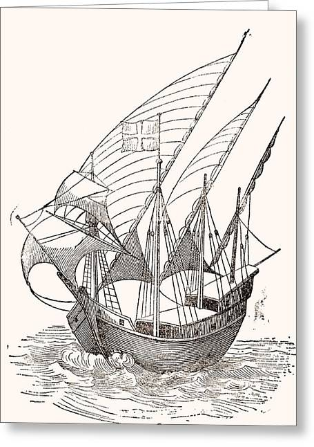 A 15th Century Caravel  Greeting Card by Spanish School