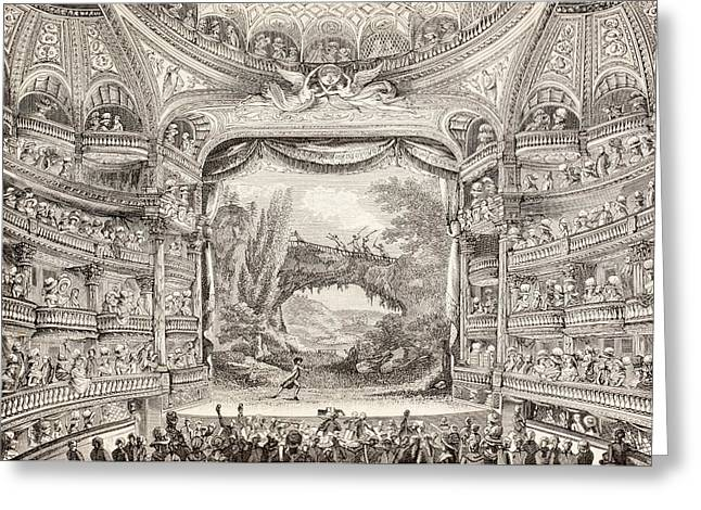 Enjoyment Greeting Cards - A 1789 Performance in the Theatre des Varietes Amusantes Greeting Card by French School