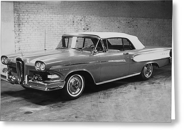 A 1958 Edsel Convertible Greeting Card by Underwood Archives