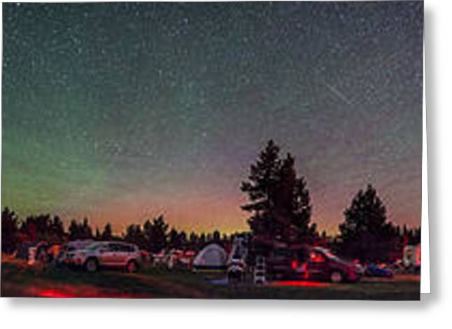 Cypress Hills Interprovincial Park Greeting Cards - A 360 Degree Panorama With Aurora Greeting Card by Alan Dyer