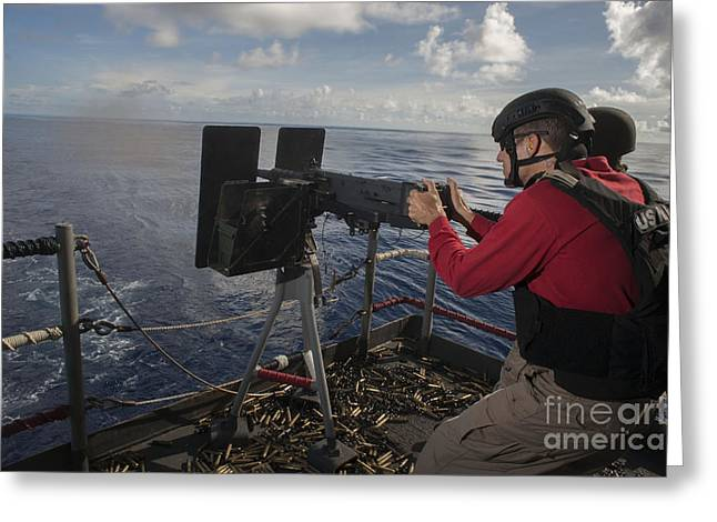 A .50 Caliber Machine Gun Is Fired Greeting Card by Stocktrek Images
