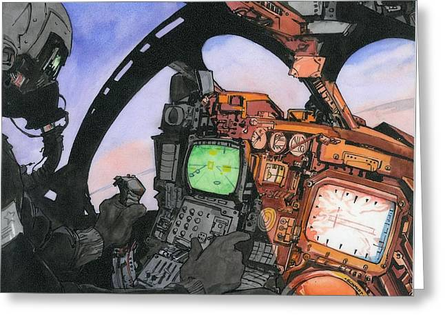 Aviator Drawings Greeting Cards - A-6 Cockpit Greeting Card by Richard Schmidt