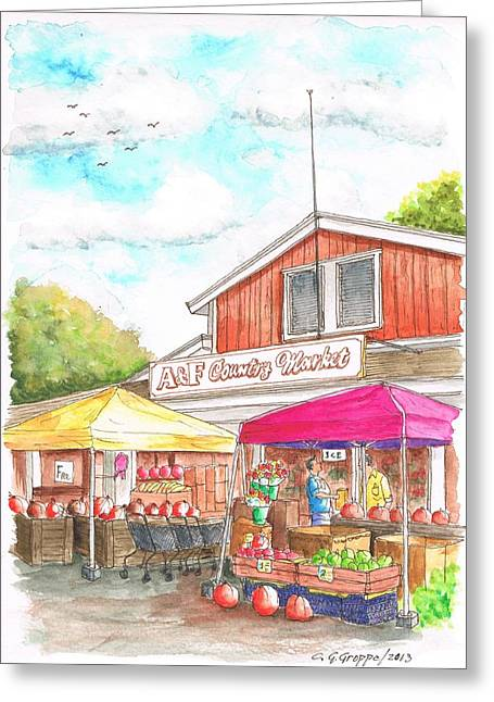 Fruit Tree Art Print Greeting Cards - A and F Country Market in Oxnard-CA Greeting Card by Carlos G Groppa