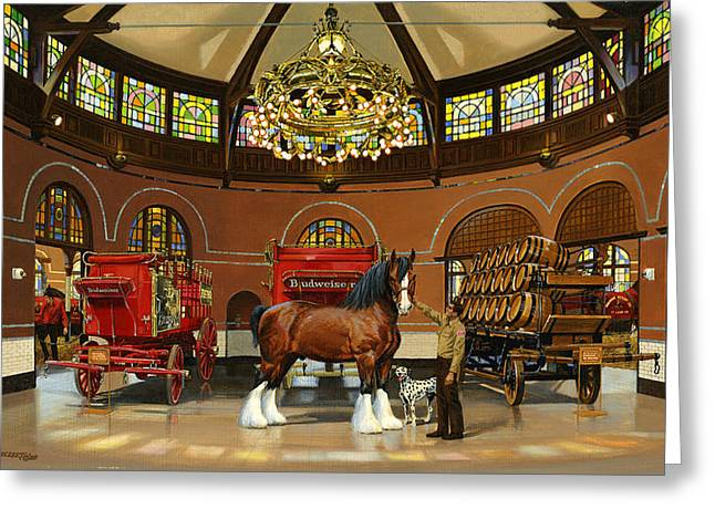 Trainer Greeting Cards - St. Louis Clydesdale Stables Greeting Card by Don  Langeneckert