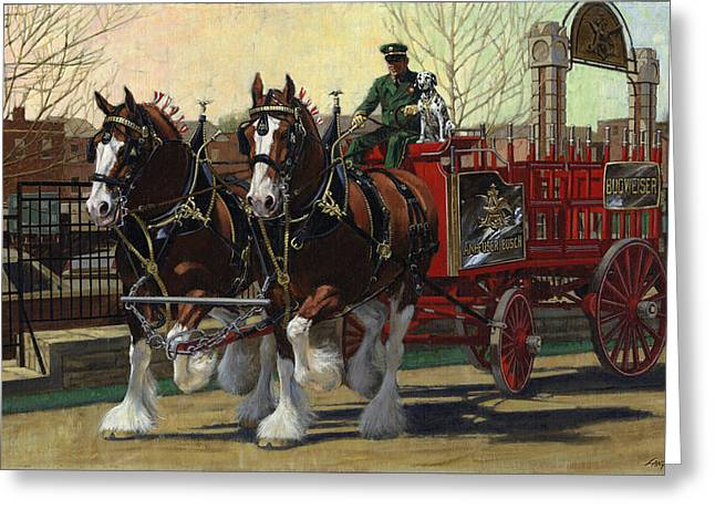 Clydesdale Greeting Cards - Two Horse Training Wagon Greeting Card by Don  Langeneckert