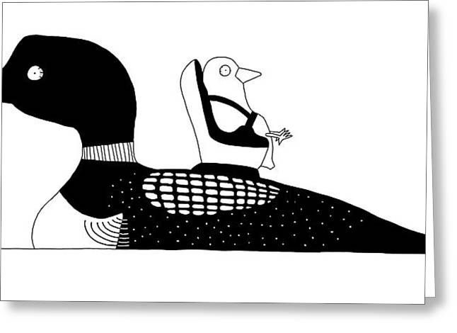 A Baby Duck In A Tiny Car Seat On The Mother Greeting Card by Seth Fleishman
