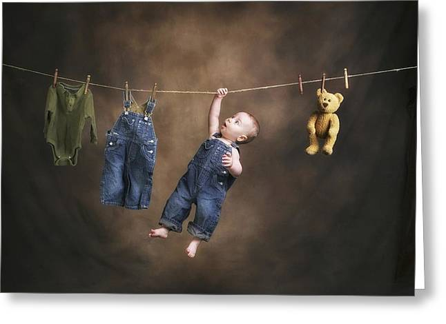 Overalls Greeting Cards - A Baby On The Clothesline Greeting Card by Pete Stec