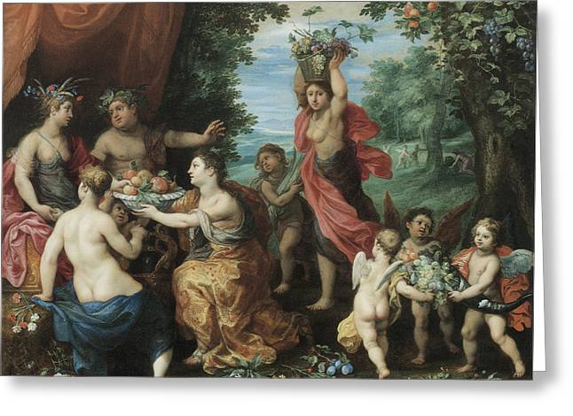 Balen Greeting Cards - A Bacchanal with Ceres Bacchus and Venus Greeting Card by Jan Brueghel the Younger
