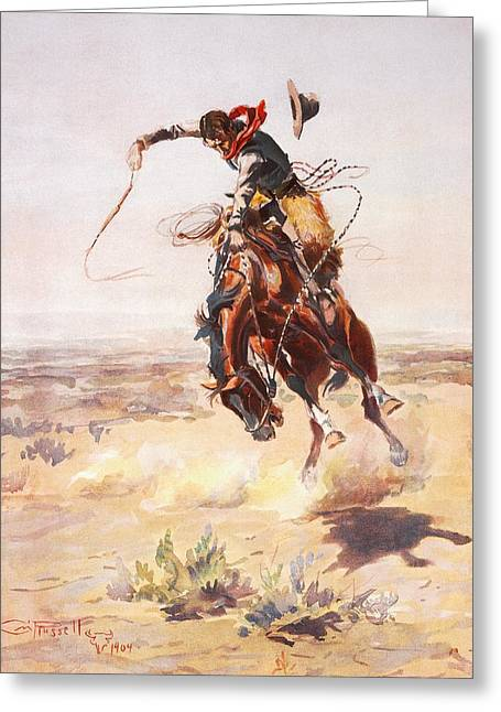 Western Western Art Greeting Cards - A Bad Hoss Greeting Card by Charles Russell