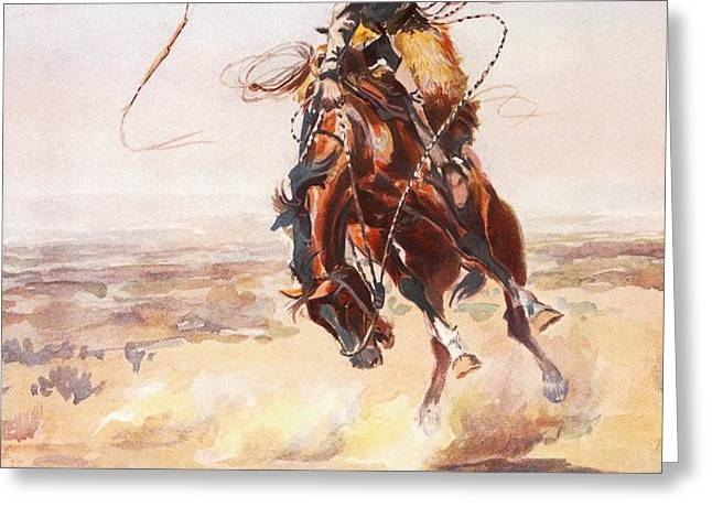 A Bad Hoss Greeting Card by Charles Russell
