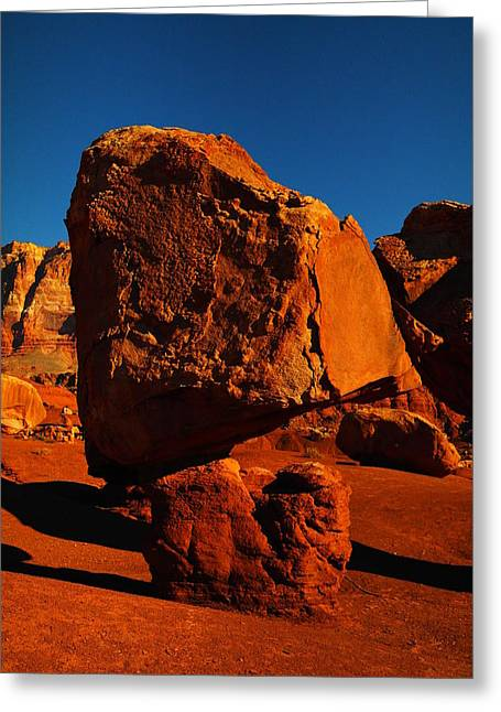 Cliff Dwellers Greeting Cards - A Balanced Rock Greeting Card by Jeff  Swan