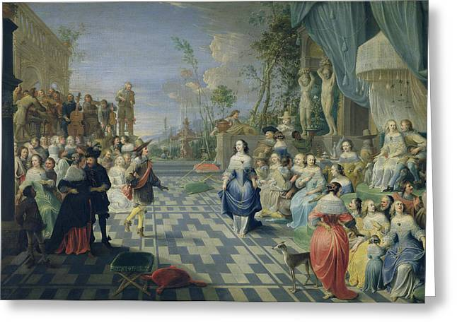 Dance Photographs Greeting Cards - A Ball On The Terrace Of A Palace Oil On Canvas Greeting Card by Hieronymus Janssens