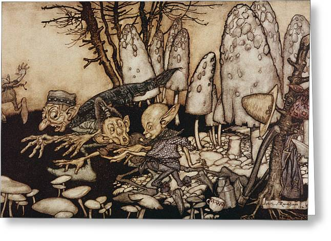 Goblins Greeting Cards - A Band Of Workmen, Who Were Sawing Down A Toadstool, Rushed Away, Leaving Their Tools Greeting Card by Arthur Rackham