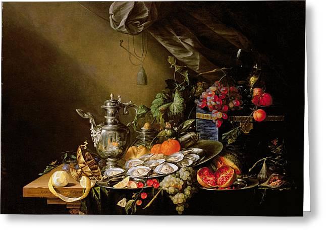 Feast Greeting Cards - A Banquet Still Life Greeting Card by Cornelis de Heem