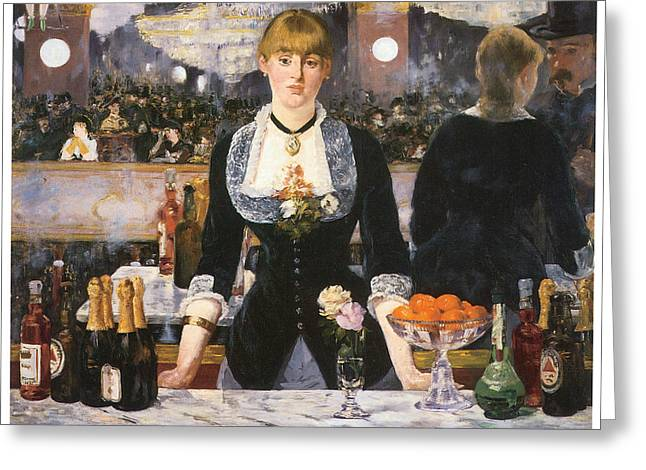 Tend Greeting Cards - A Bar at the Folies-Begere Greeting Card by Edouard Manet