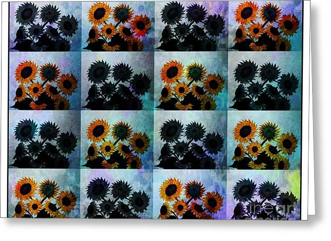 Tiled Tapestries - Textiles Greeting Cards - Tiled Sunflowers Duvet Cover Impressionistic Greeting Card by Barbara Griffin