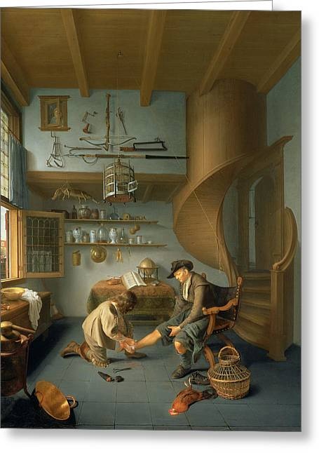 Spiral Staircase Photographs Greeting Cards - A Barber Surgeon Tending A Peasants Foot, C.1650 Panel Greeting Card by Koedyck