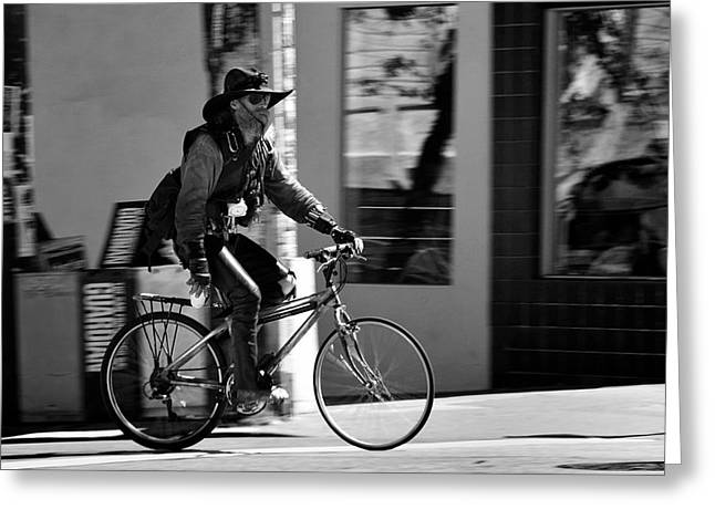 A barefoot cyclist with beard and hat in San Francisco Greeting Card by RicardMN Photography