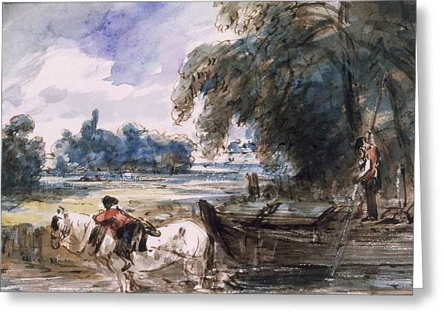 Barge Greeting Cards - A Barge On The Stour Greeting Card by John Constable