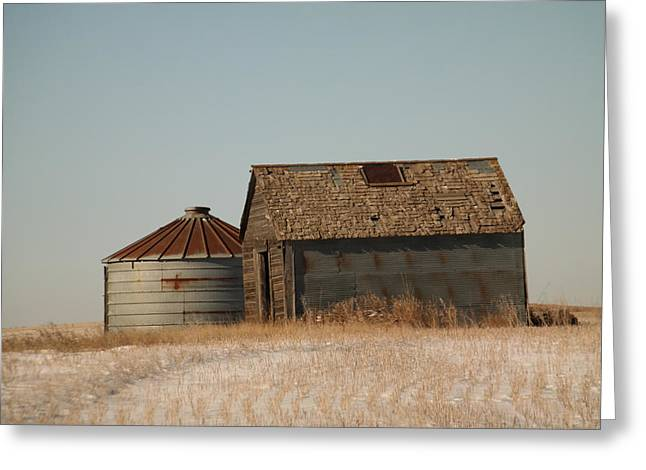 Grain Bin Greeting Cards - A barn and a bin Greeting Card by Jeff  Swan