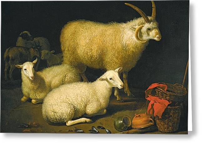 Still-life With A Basket Greeting Cards - A Barn Interior with a Four-Horned Ram and Four Ewes and a Goat Greeting Card by Aelbert Cuyp