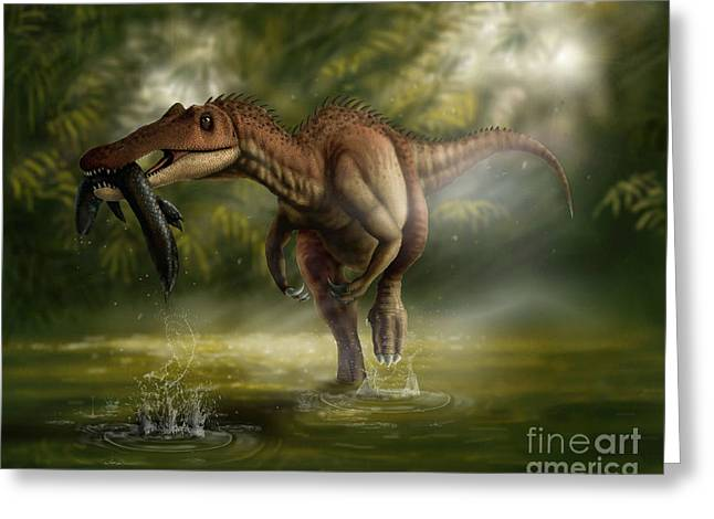 In Mouth Greeting Cards - A Baryonyx Dinosaur Catches A Fishin Greeting Card by Yuriy Priymak