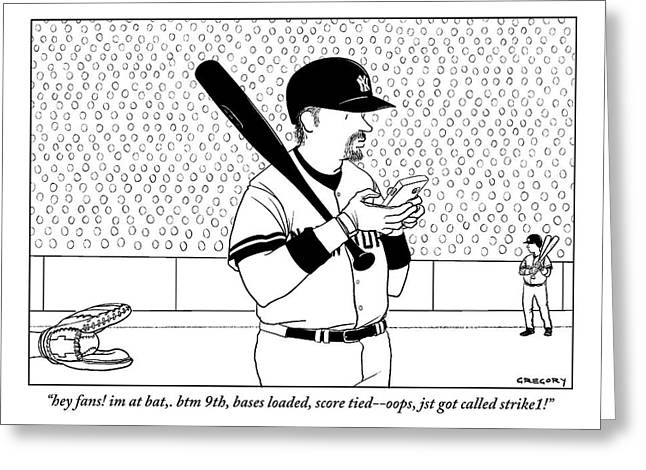 A Baseball Player Yankees Twitters Greeting Card by Alex Gregory