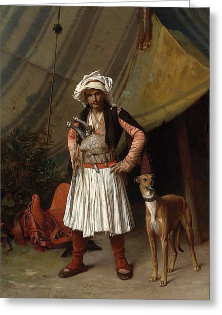 Gerome Greeting Cards - A Bashi Bazouk and his Dog Greeting Card by Jean-Leon Gerome