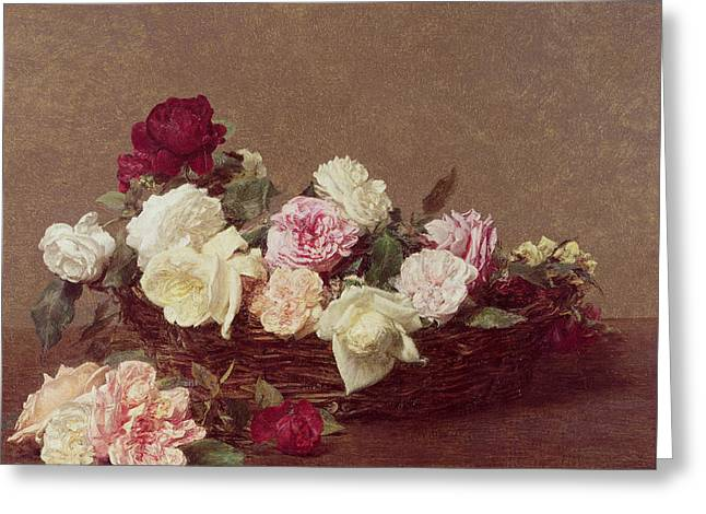 Tasteful Art Greeting Cards - A Basket of Roses Greeting Card by Ignace Henri Jean Fantin-Latour