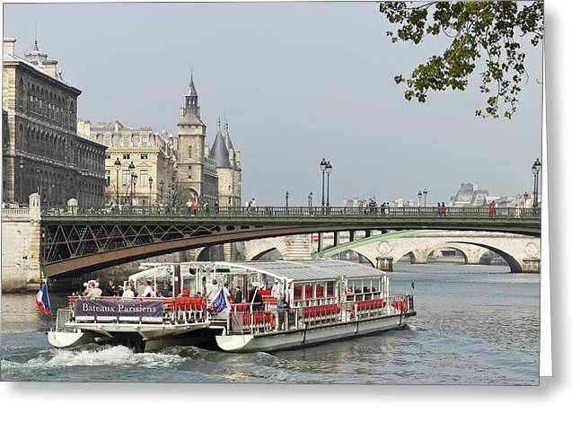 A Bateaux Cruises On The Seine River Greeting Card by William Sutton